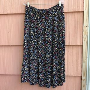 Black floral vintage plus size skirt